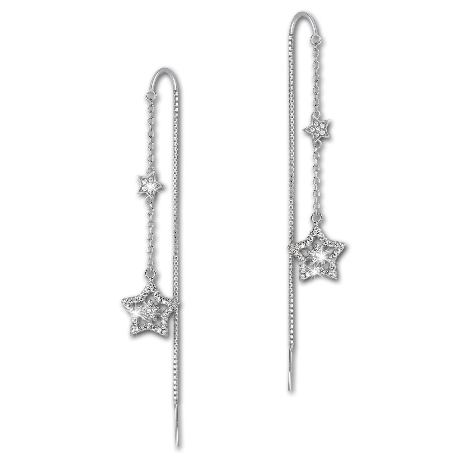 SilberDream Glitzer Ohrhänger Sterne Zirkonia weiß 925er Silber Ohrring GSO443W