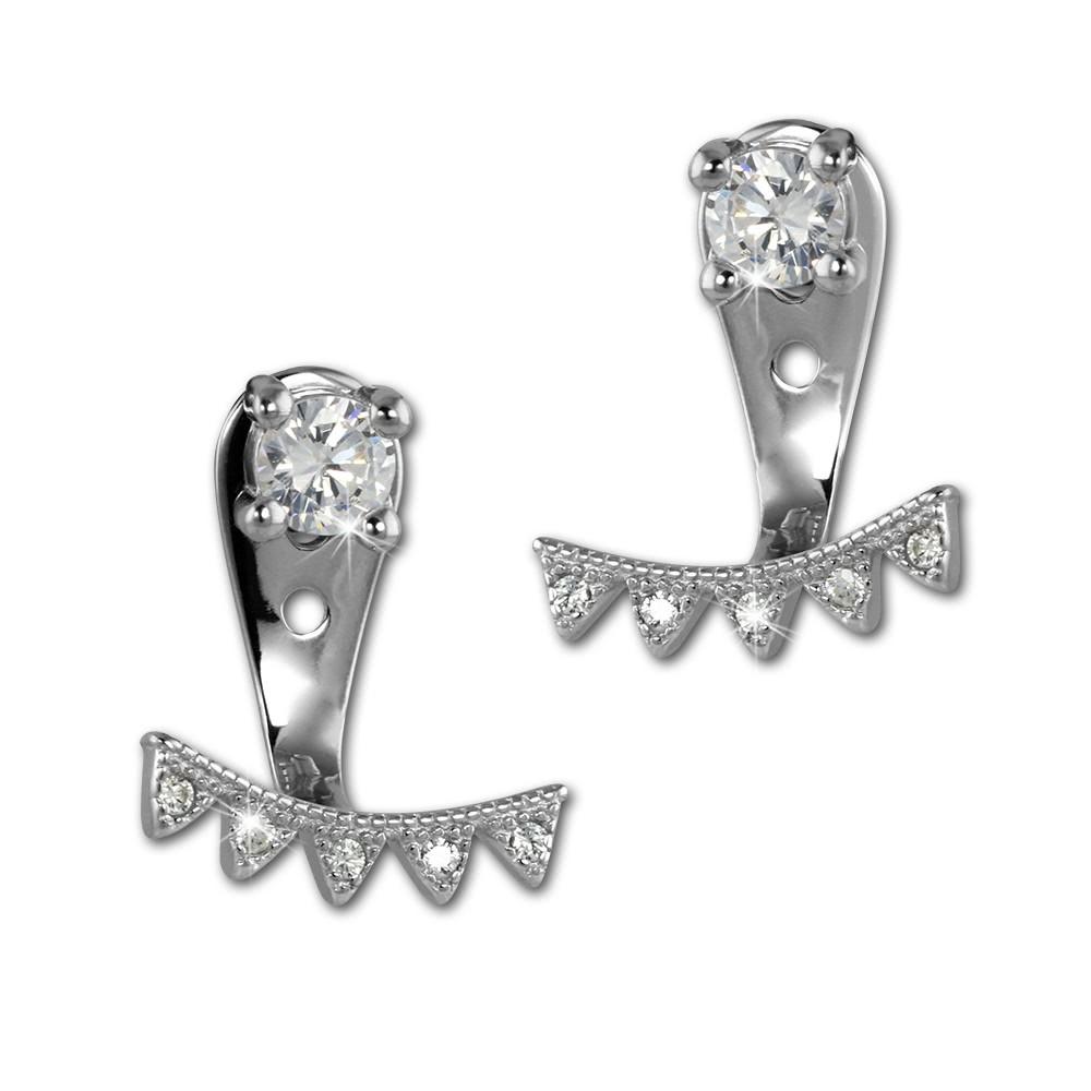 SilberDream Ohrstecker Dangle Ear Cuff Dreiecke weiß 925 Silber Ohrringe GSO444W
