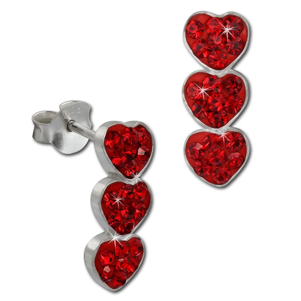 SilberDream Ohrstecker drei Herzen rot 925er Glitzer Kristalle GSO606R
