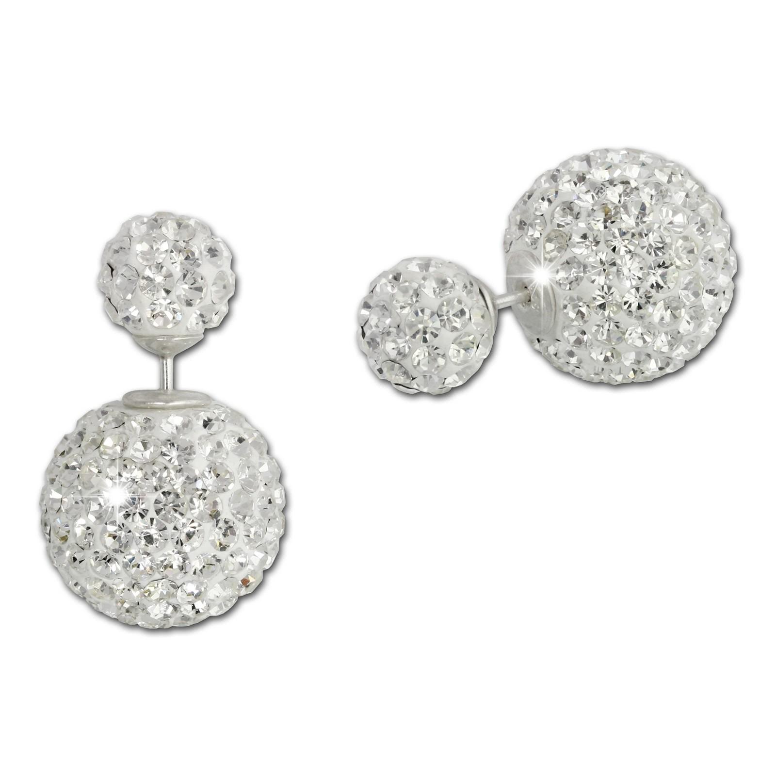 SilberDream Doppel-Ohrringe Glitzerperlen weiß Tribal Design 925 Silber GSO651W