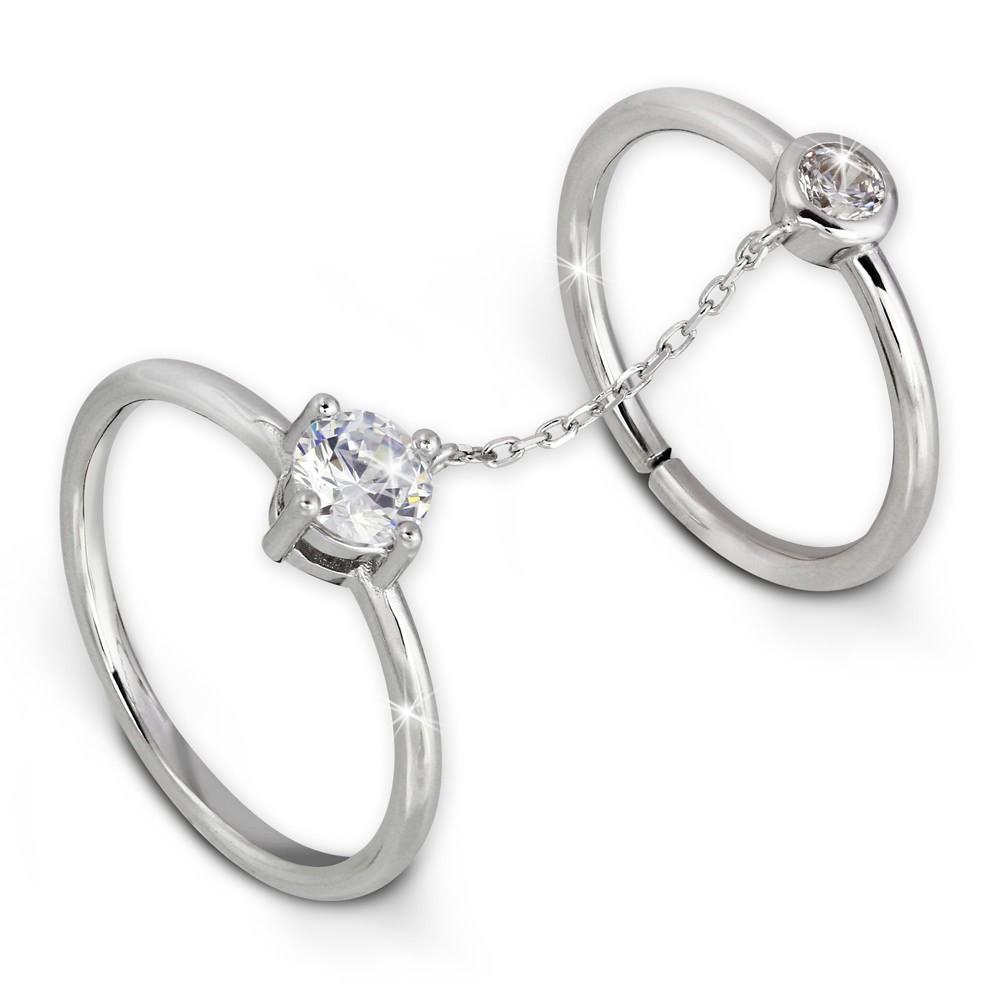 SilberDream Doppel Ring Zirkonia Gr.52 Knuckle Ring 925 Silber GSR401W52