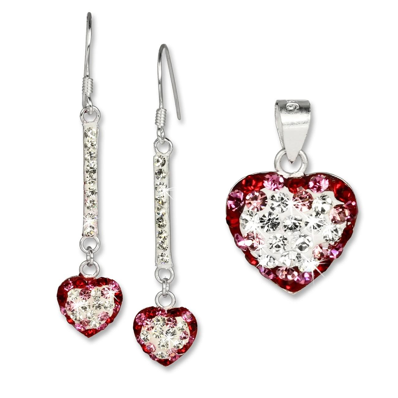 SilberDream Set Herz rot Anhänger & Ohrringe Zirkonia Silber GSS043