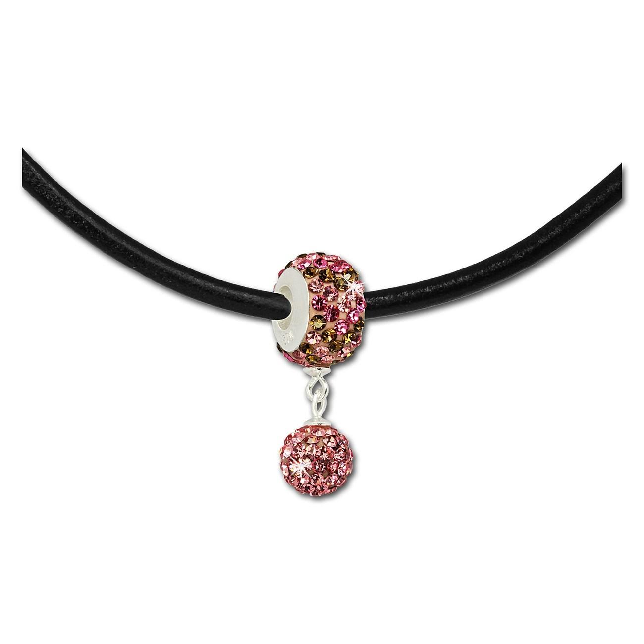 SilberDream Set Kette Bommel-Bead Glitzer Kristall rosa 925 GSS045A
