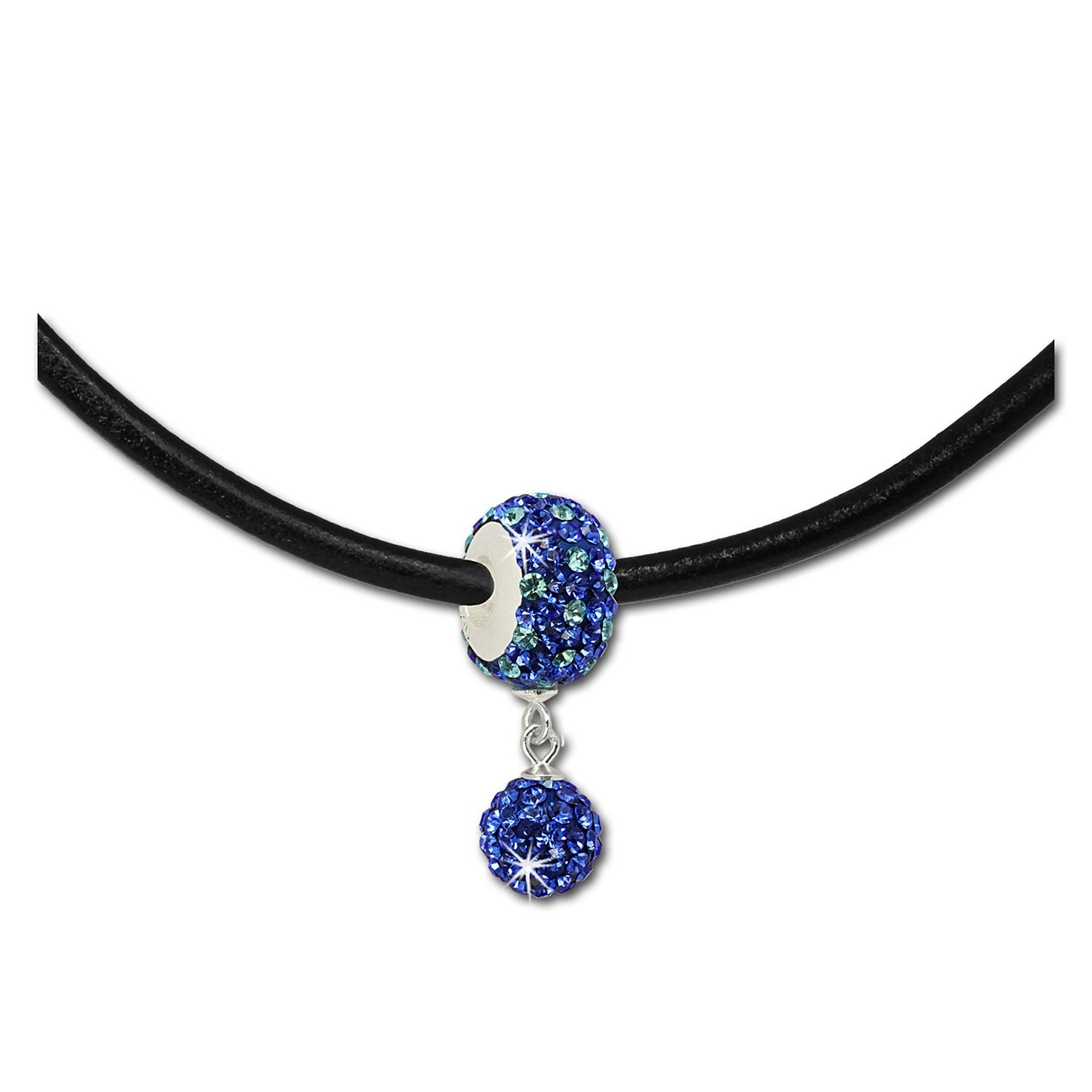 SilberDream Set Kette Bommel-Bead Glitzer Kristall blau 925 GSS045B
