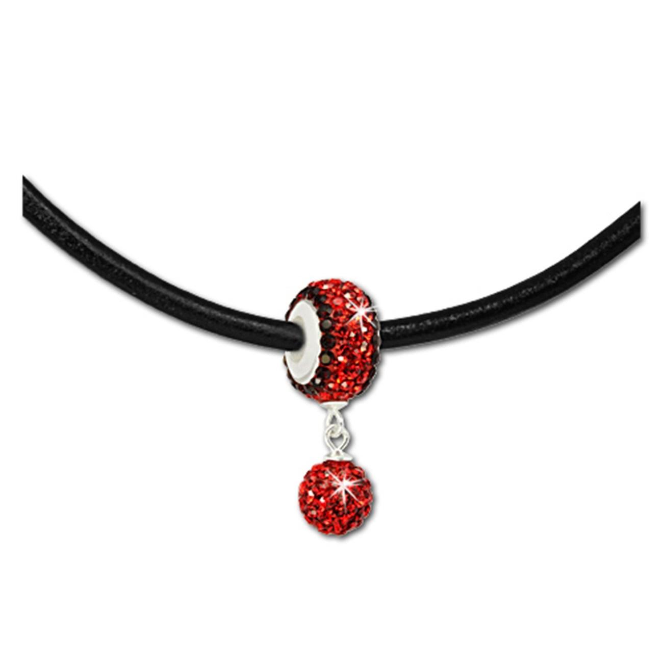 SilberDream Set Kette Bommel-Bead Glitzer Kristall rot 925 GSS045R