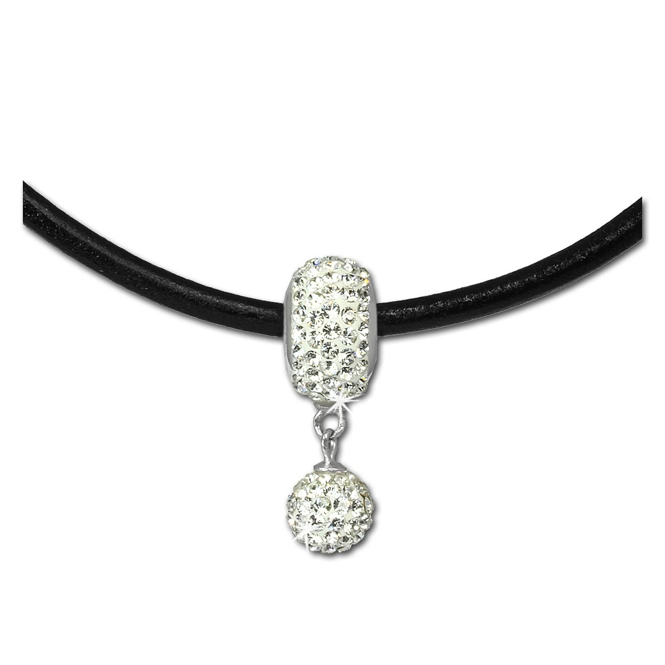 SilberDream Set Kette Bommel-Bead Glitzer Kristalle weiß 925er GSS045W