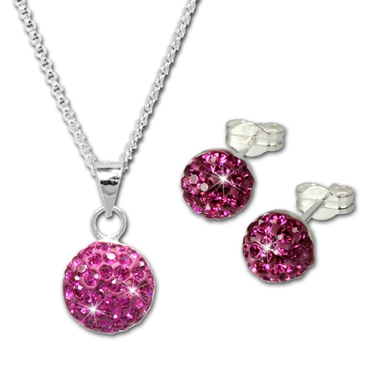 SilberDream Glitzer Set Pink Kette Anhänger Ohrringe 925 Silber GSS053P