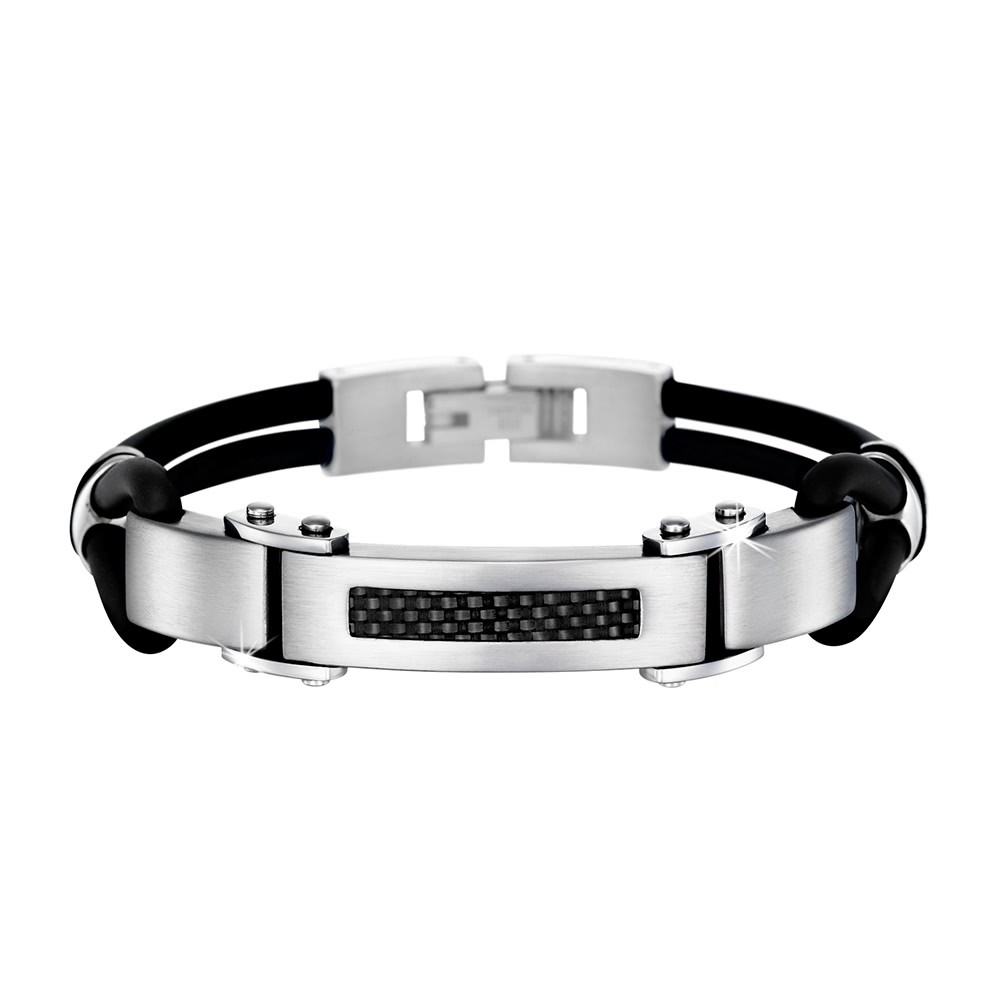 LS Armband Carbon-schwarz Edelstahl Lotus Style Herren Schmuck JLS1182-2-1