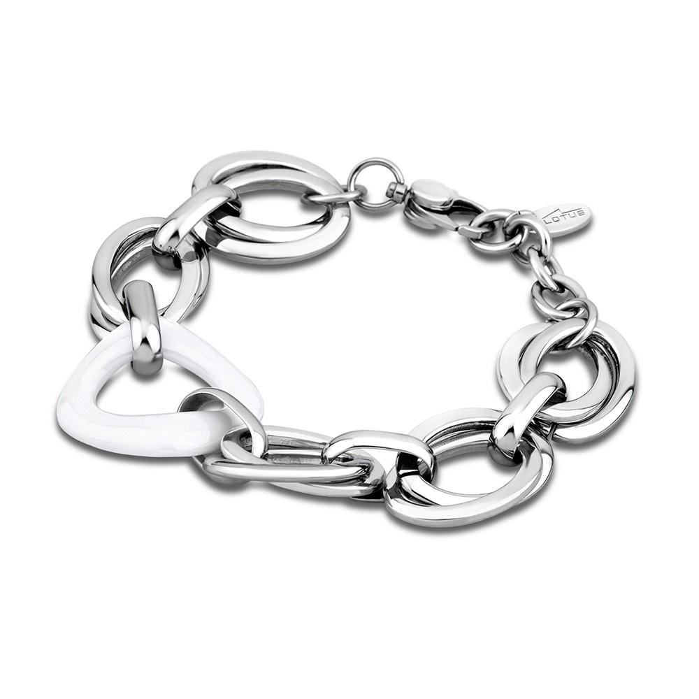LS Armband stahlfarben-weiß Lotus Style Edelstahl Schmuck JLS1607-2-1