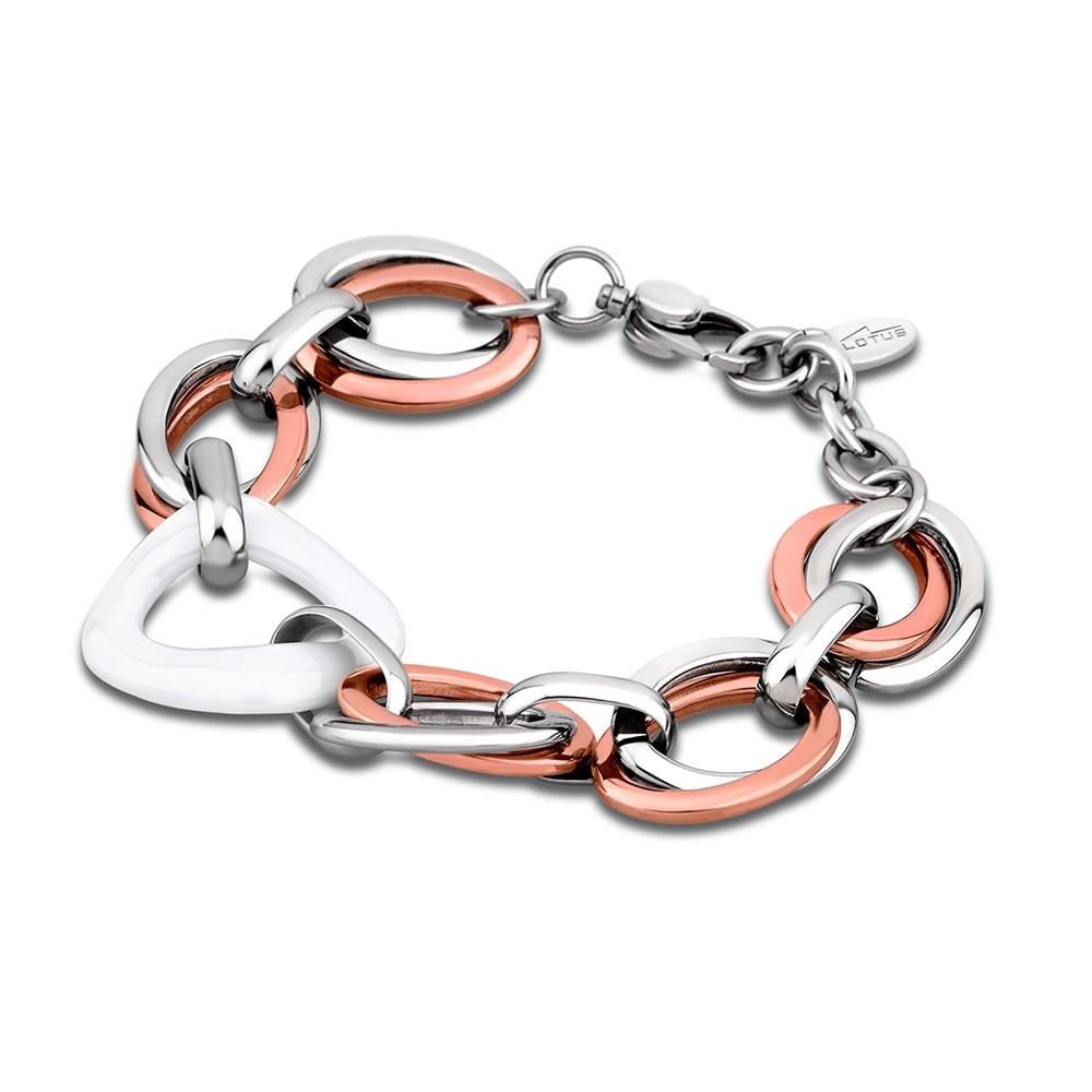 LS Armband stahlfarben-rosegold-weiß Lotus Style Edelstahl Schmuck JLS1607-2-3