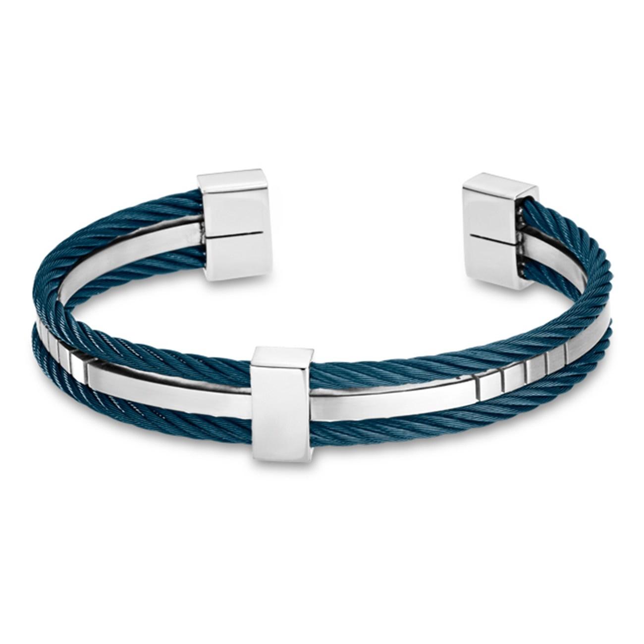LOTUS Style Armreif Herren Edelstahl silber blau LS1807-2/2 Urban JLS1807-2-2