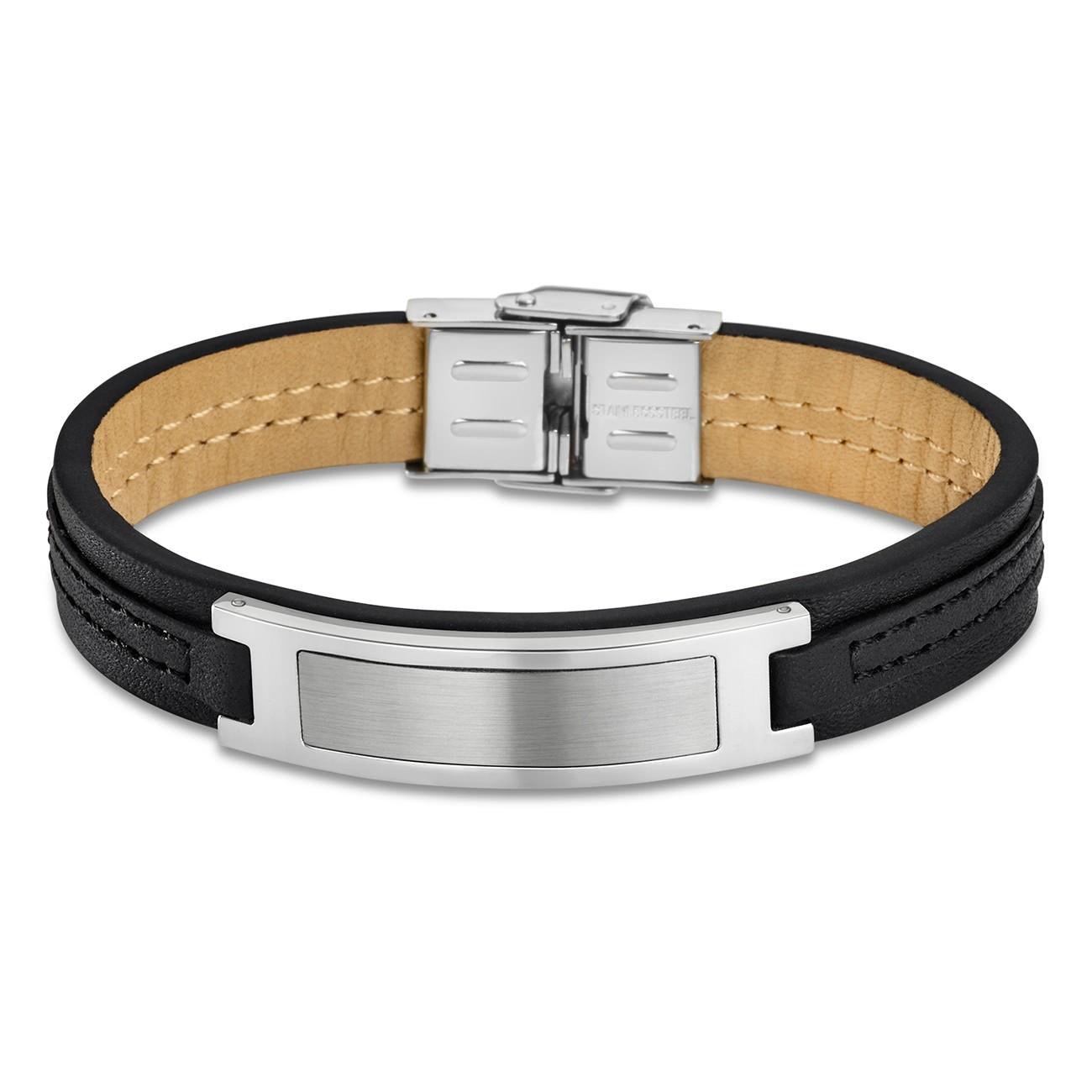 LOTUS Style Armband Herren Leder silber schwarz LS1808-2/2 Urban JLS1808-2-2