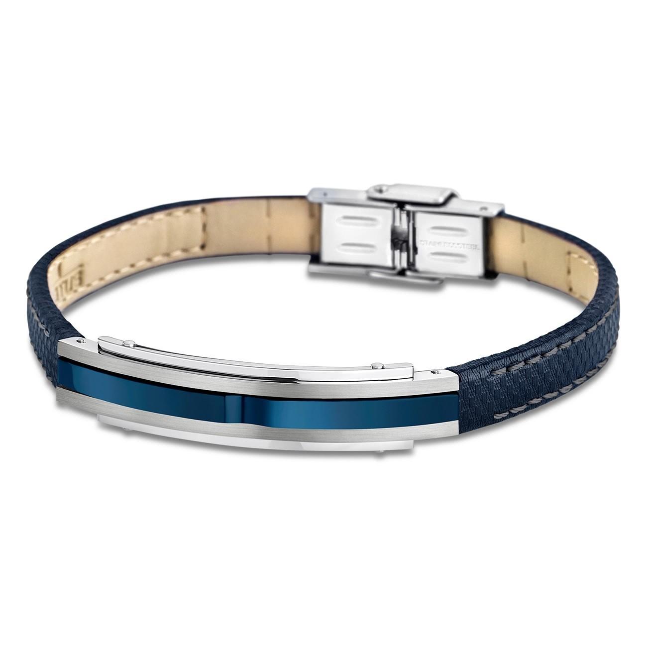 LOTUS Style Armband Herren Leder silber blau LS1809-2/2 Urban JLS1809-2-2