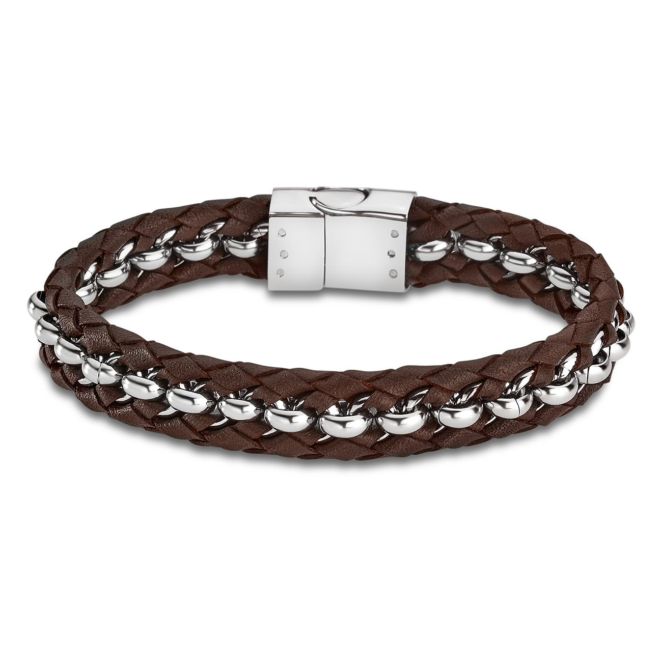 LOTUS Style Armband Herren LS1810-2/2 Leder silber braun JLS1810-2-2