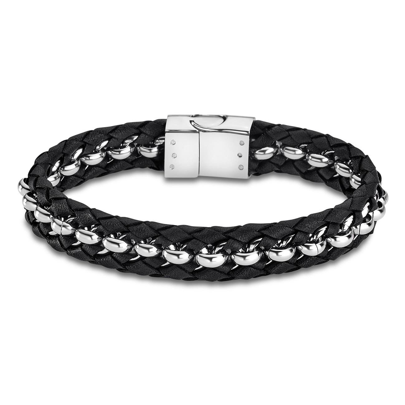 LOTUS Style Armband Herren LS1810-2/3 Leder silber schwarz JLS1810-2-3