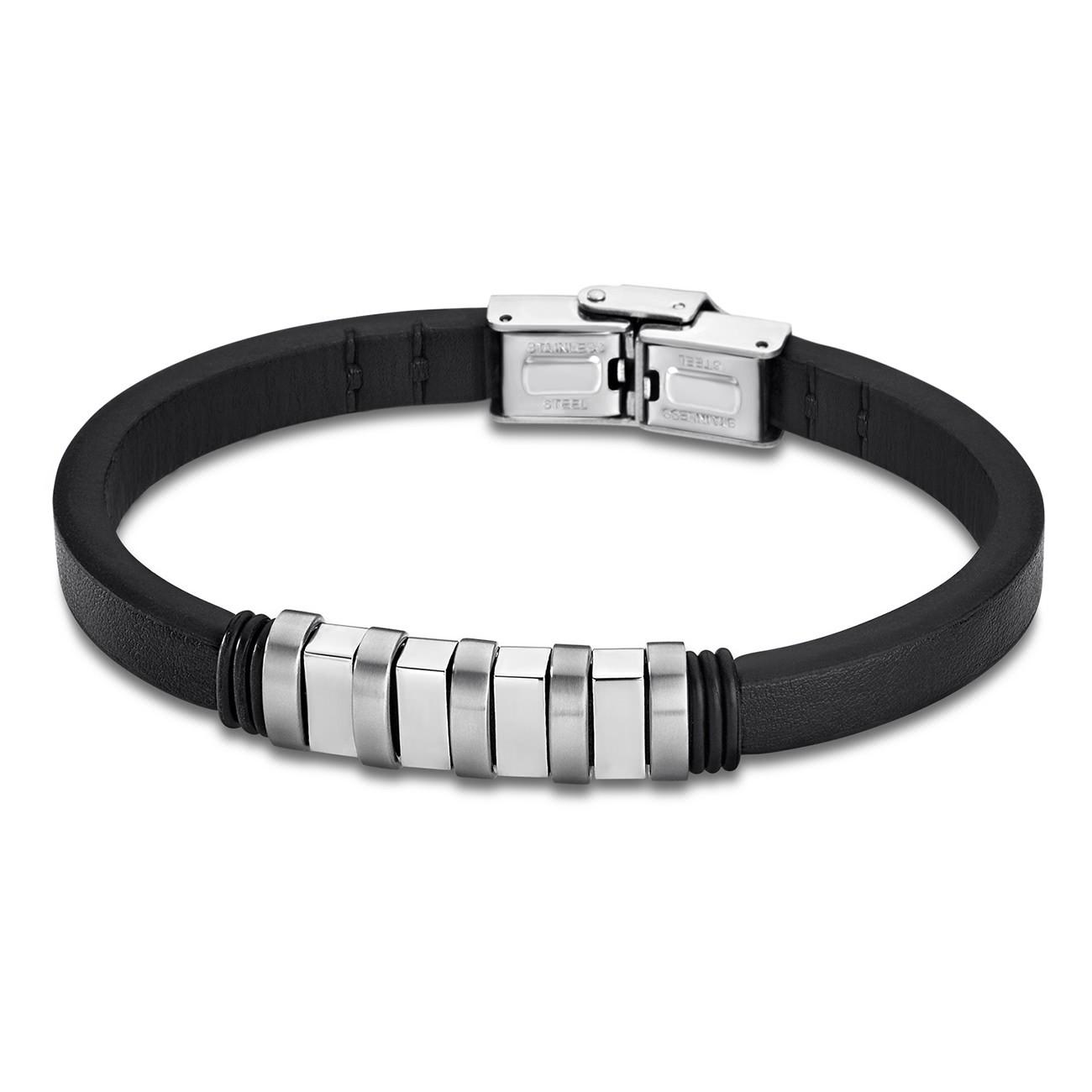 LOTUS Style Armband Damen Herren LS1828-2/1 Leder silber schwarz JLS1828-2-1