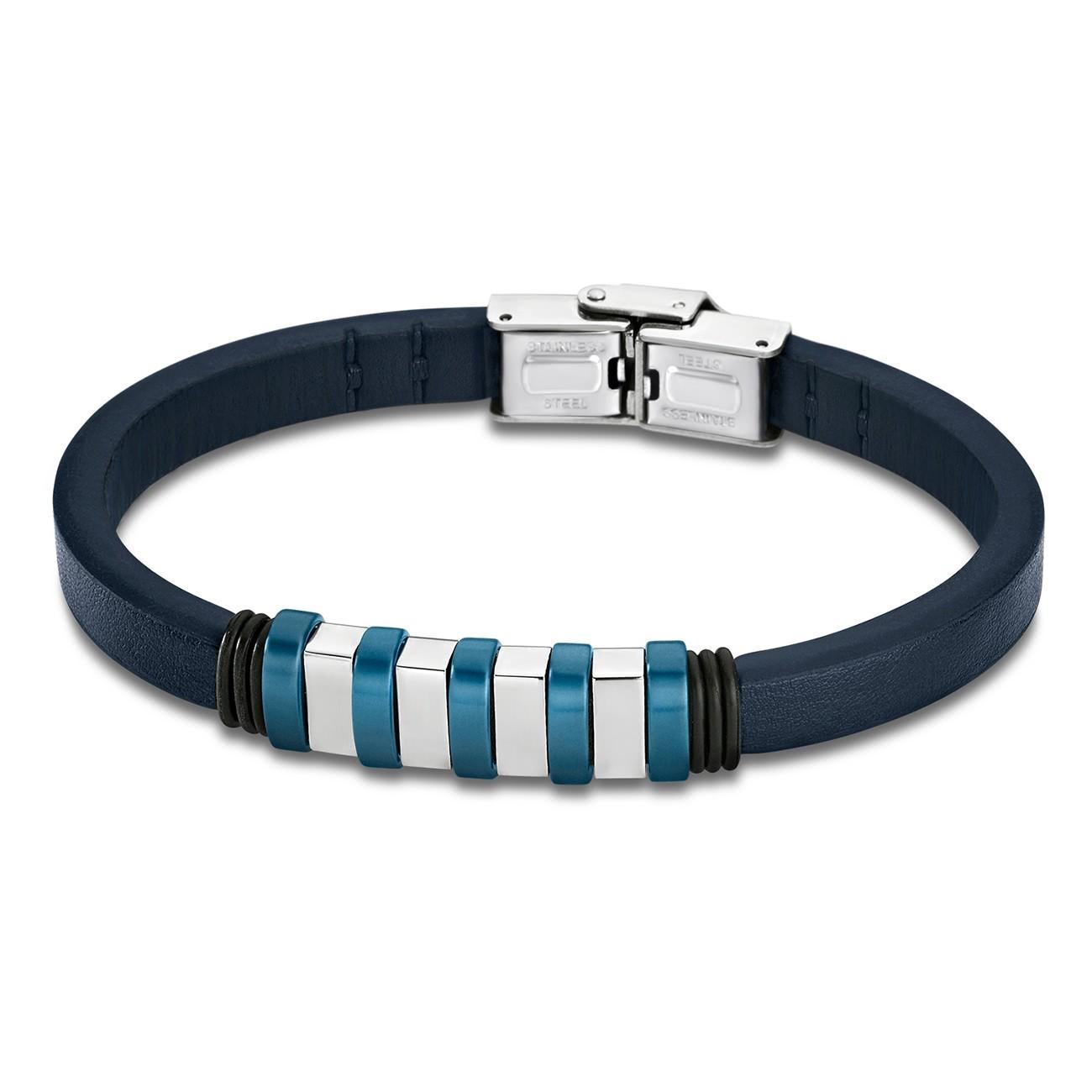 LOTUS Style Armband Damen Herren LS1828-2/2 Leder silber blau JLS1828-2-2