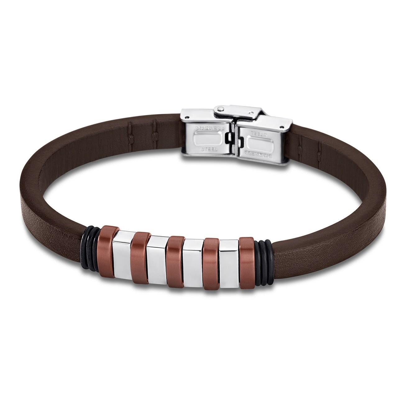 LOTUS Style Armband Damen Herren LS1828-2/3 Leder silber braun JLS1828-2-3