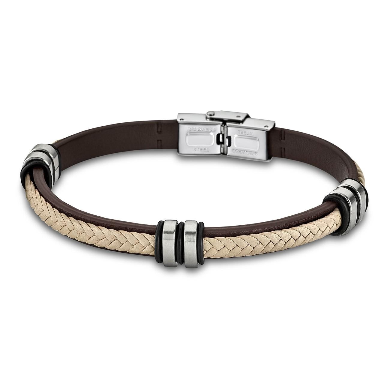 LOTUS Style Armband Damen Herren LS1829-2/6 Leder braun beige JLS1829-2-6