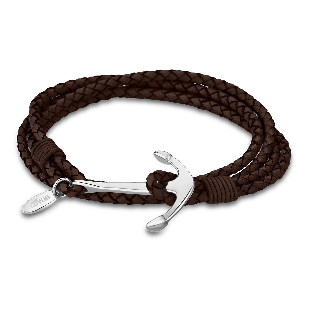 LOTUS Style Armband Anker Herren LS1831-2/3 Leder braun-silber JLS1831-2-3
