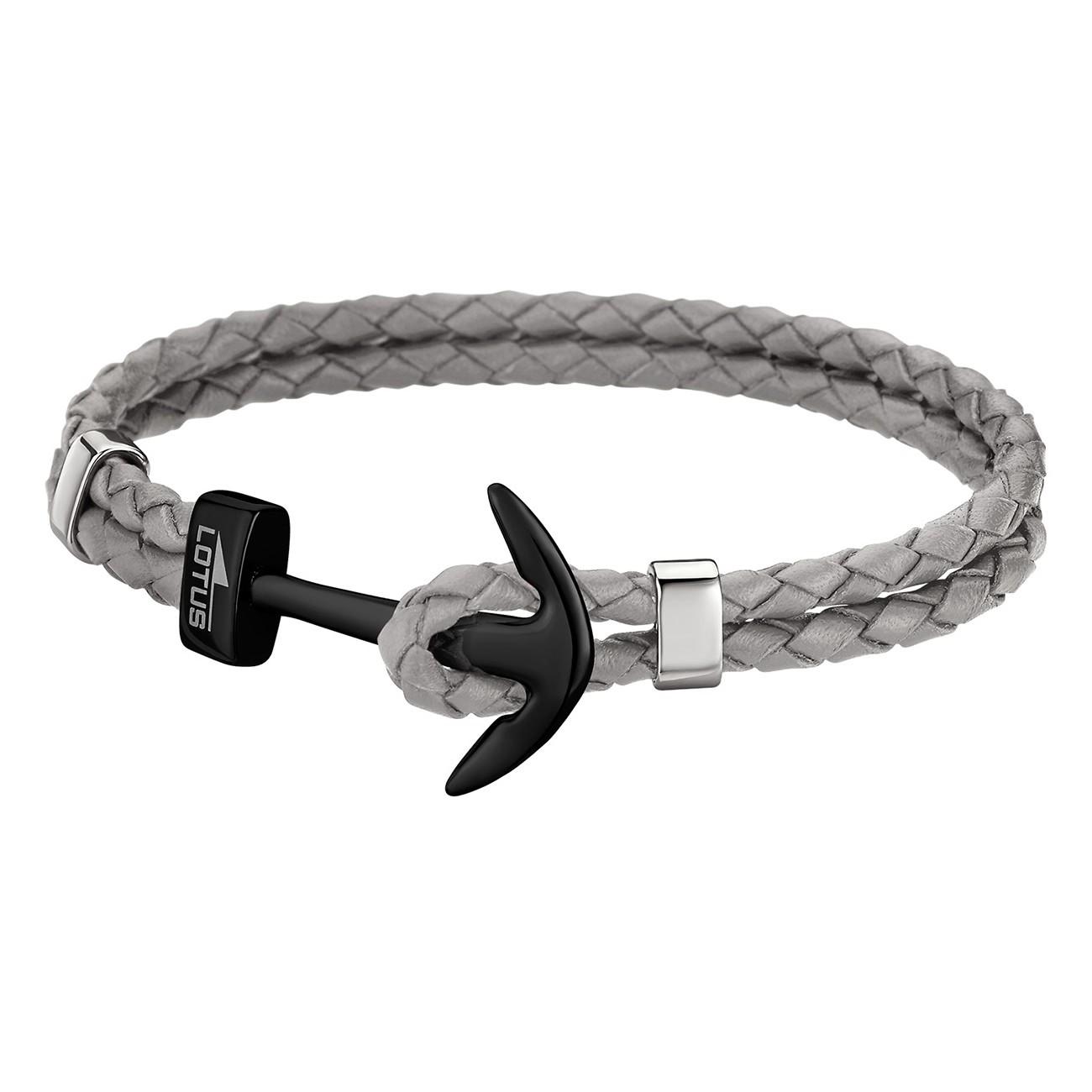 lotus style armband herren leder grau ls1832 2 8 anker schmuck jls1832 2 8. Black Bedroom Furniture Sets. Home Design Ideas