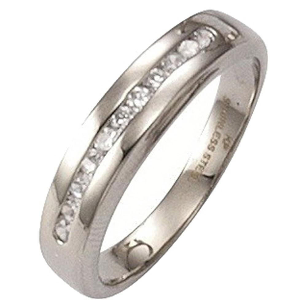 KISMA Schmuck Ring Gr. 56 Edelstahl mit Farbstein weiß KIR0127-005-56