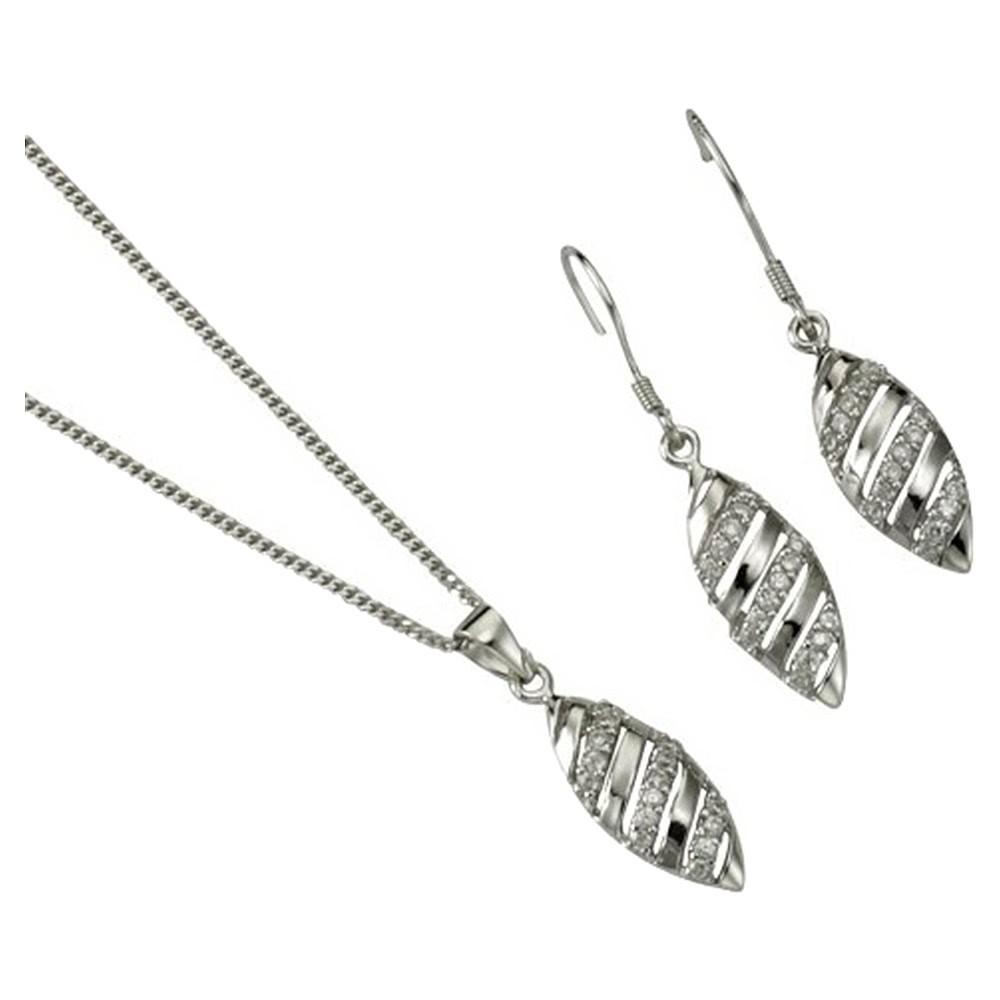 KISMA Schmuck Set Blatt 4-teilig Sterling Silber 925 KIS0109-004
