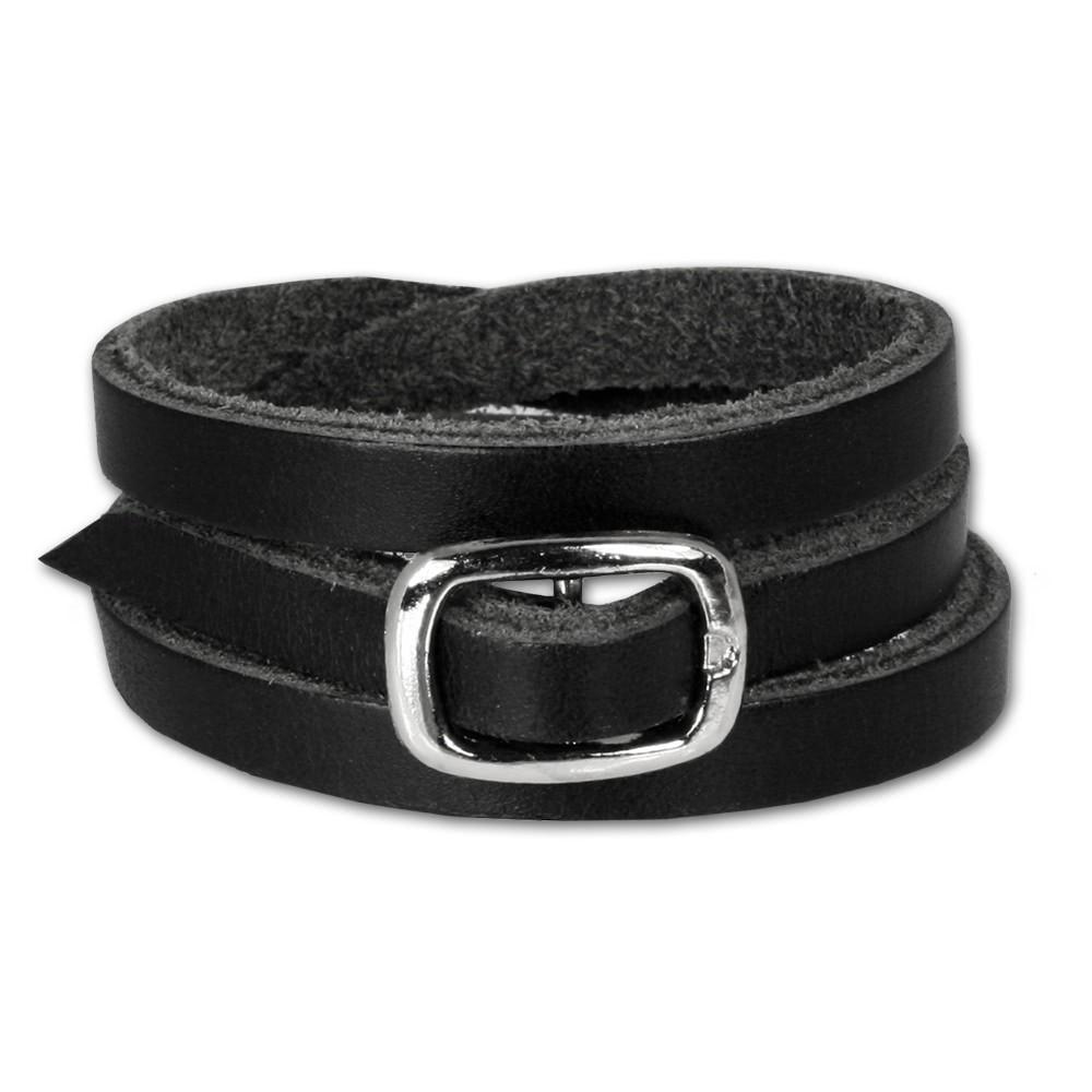 SilberDream Lederarmband schwarz Herren Leder Armband LA2219
