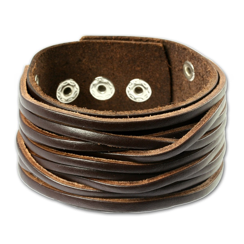 SilberDream Herren Leder Armband braun Lederarmband LA2248B