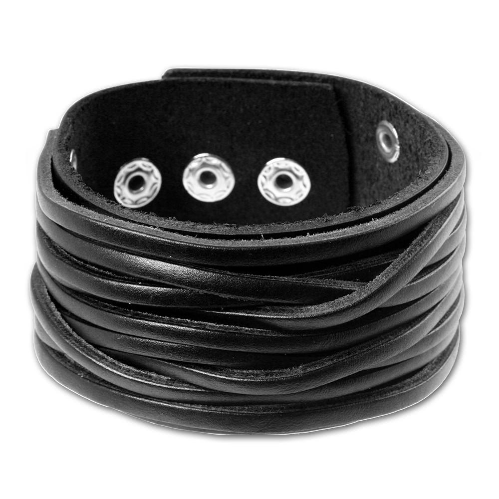 SilberDream Herren Leder Armband schwarz Lederarmband LA2248S