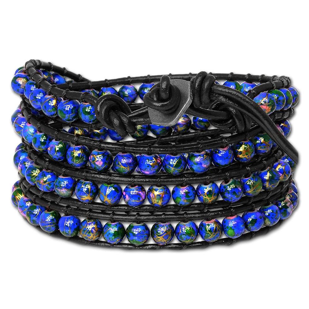 SilberDream Lederarmband Glas Kugel blau Damen Armband LA2624B