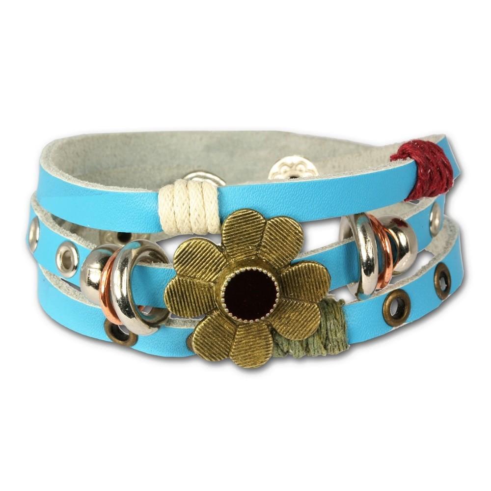 SilberDream Lederarmband türkis Blume Damen Leder Armband LA2913T