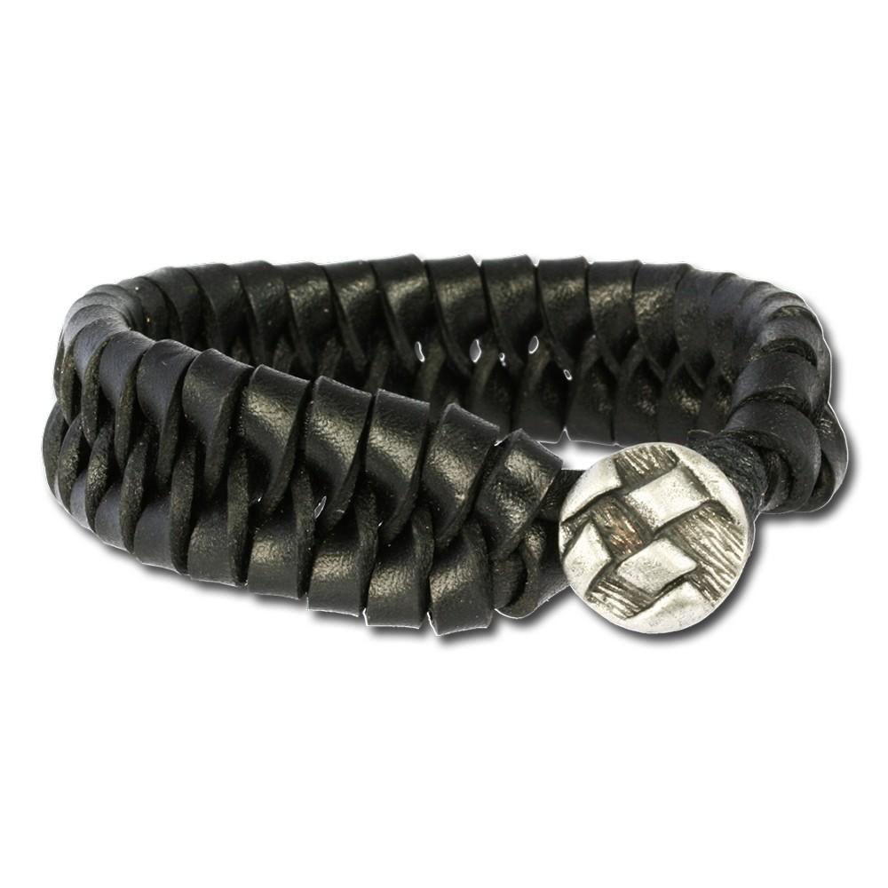 SilberDream Lederarmband schwarz Herren Leder Armband LA3073S