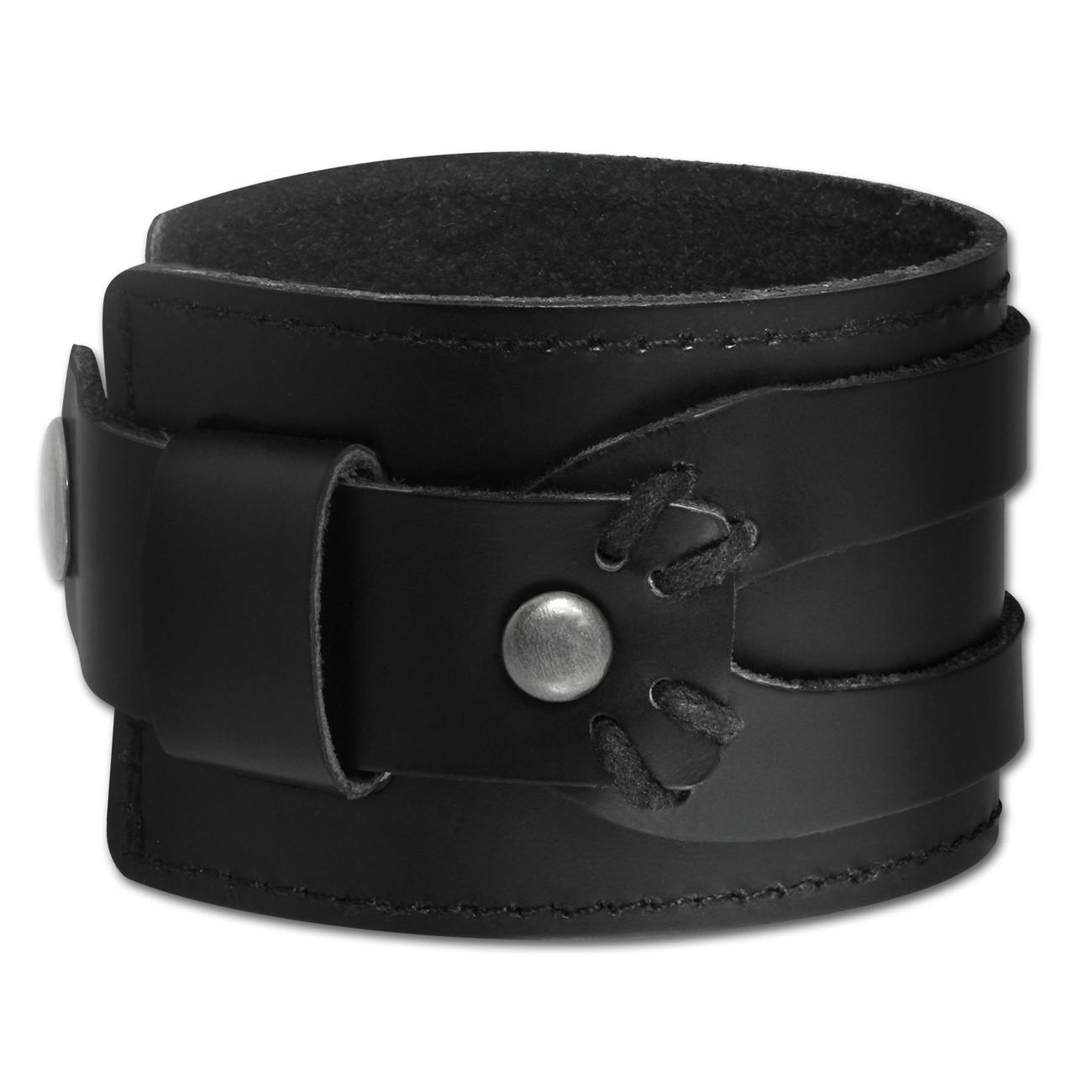 SilberDream Lederarmband Antik in schwarz Herren Leder Armband LA4293S