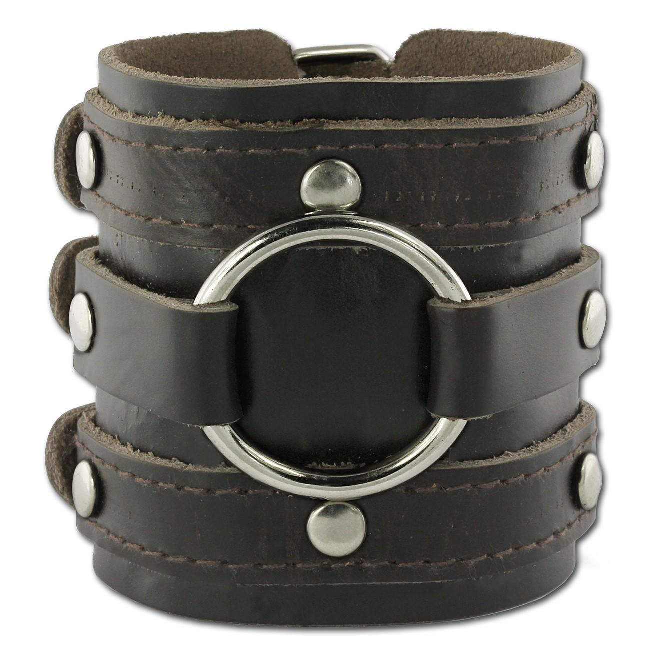 SilberDream Lederarmband braun Herren Edelstahl-Leder Armband LA4910B