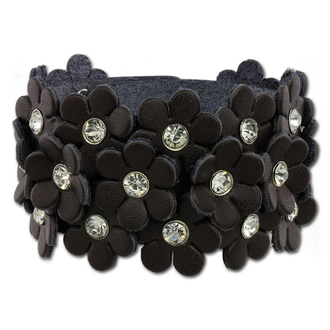 SilberDream Lederarmband braun Glitzer Blumen Damen Armband LA5668B