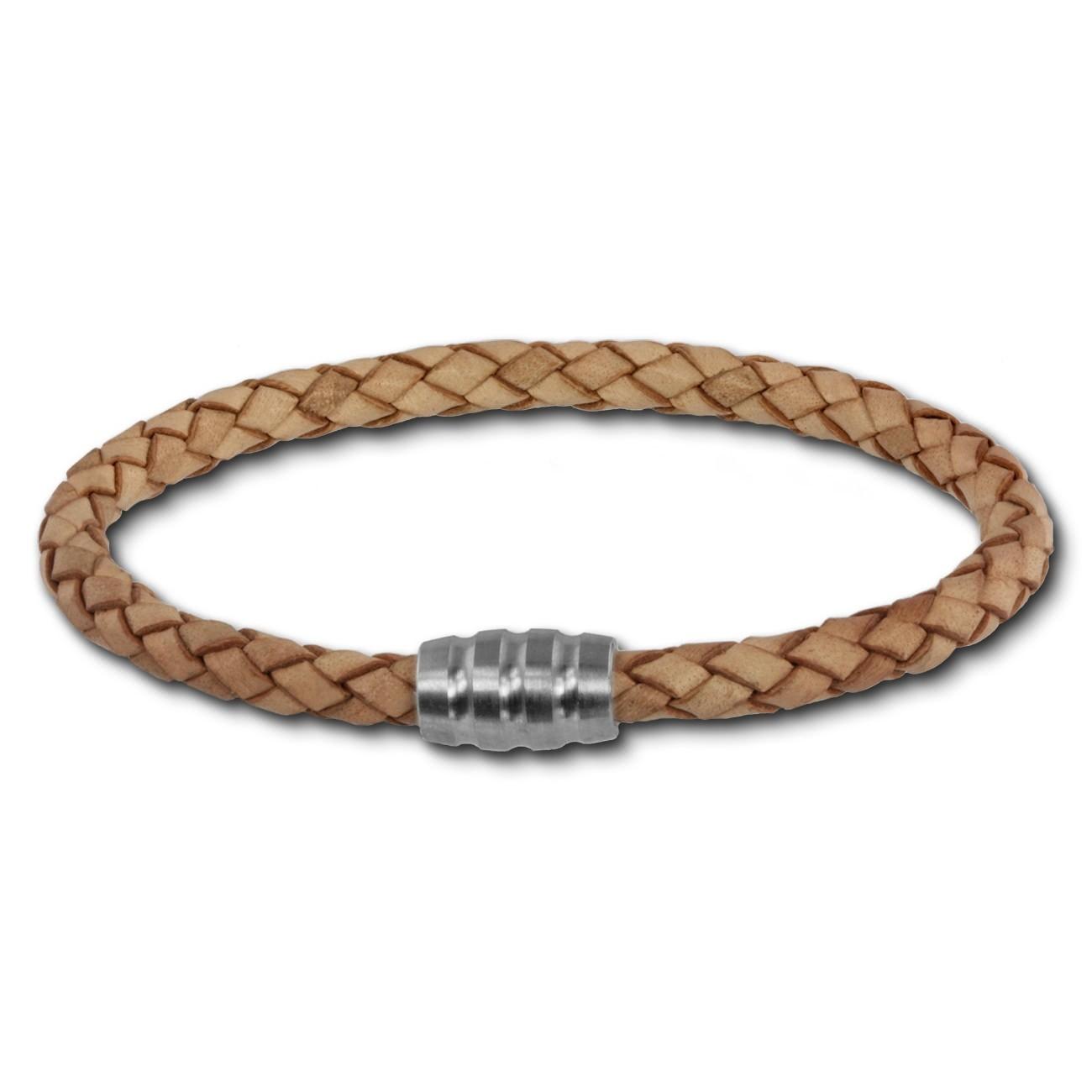 SilberDream Leder Armband 5mm natur 22cm Edelstahl Verschluss LAB0722