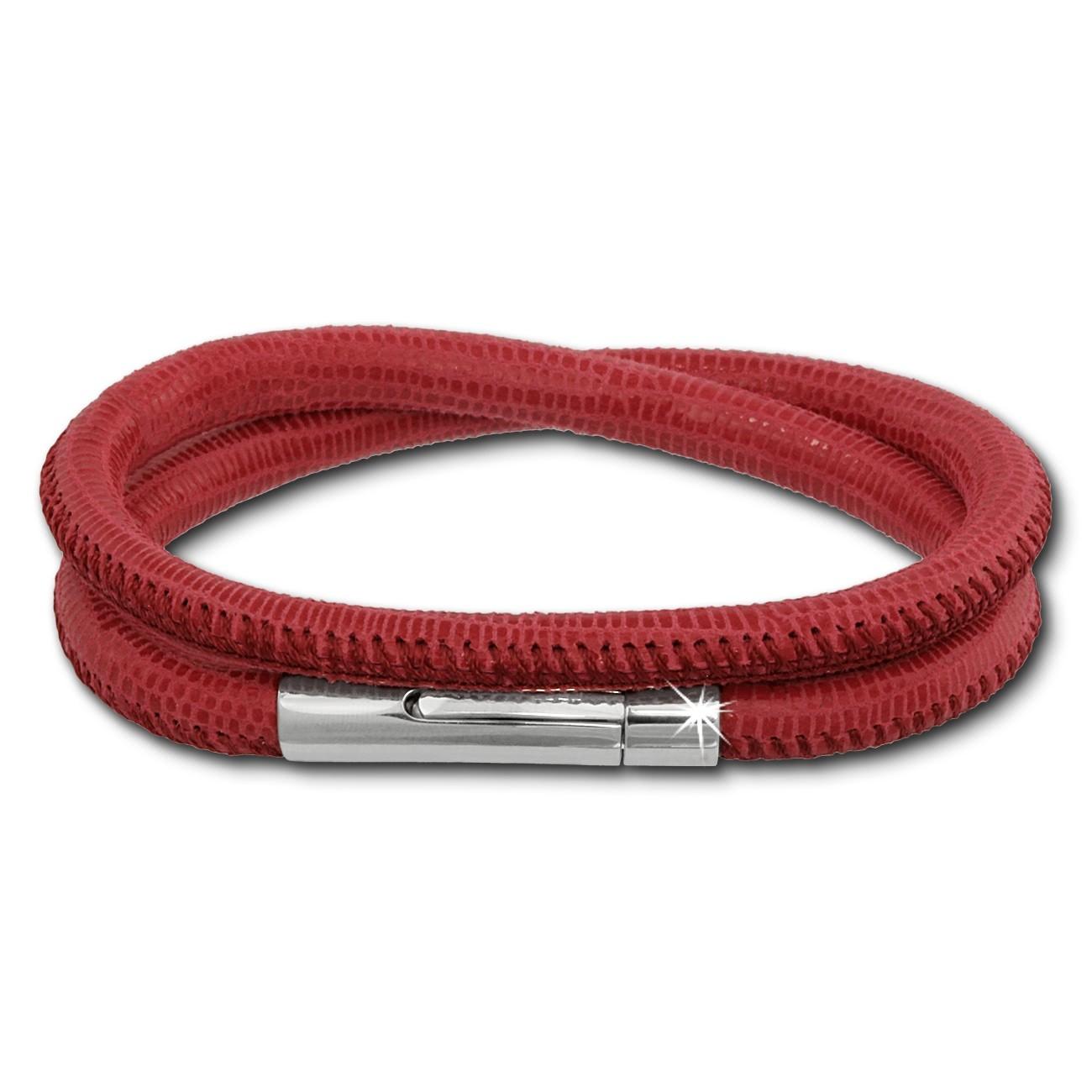 SilberDream Leder Armband doppelt 36cm fuchsia Edelstahlverschluss LAB0836