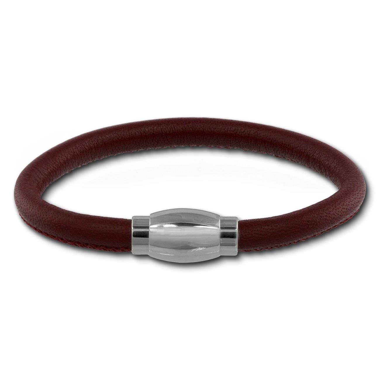 SilberDream Nappa Leder Armband rot 20cm Edelstahlverschluss LAB0920