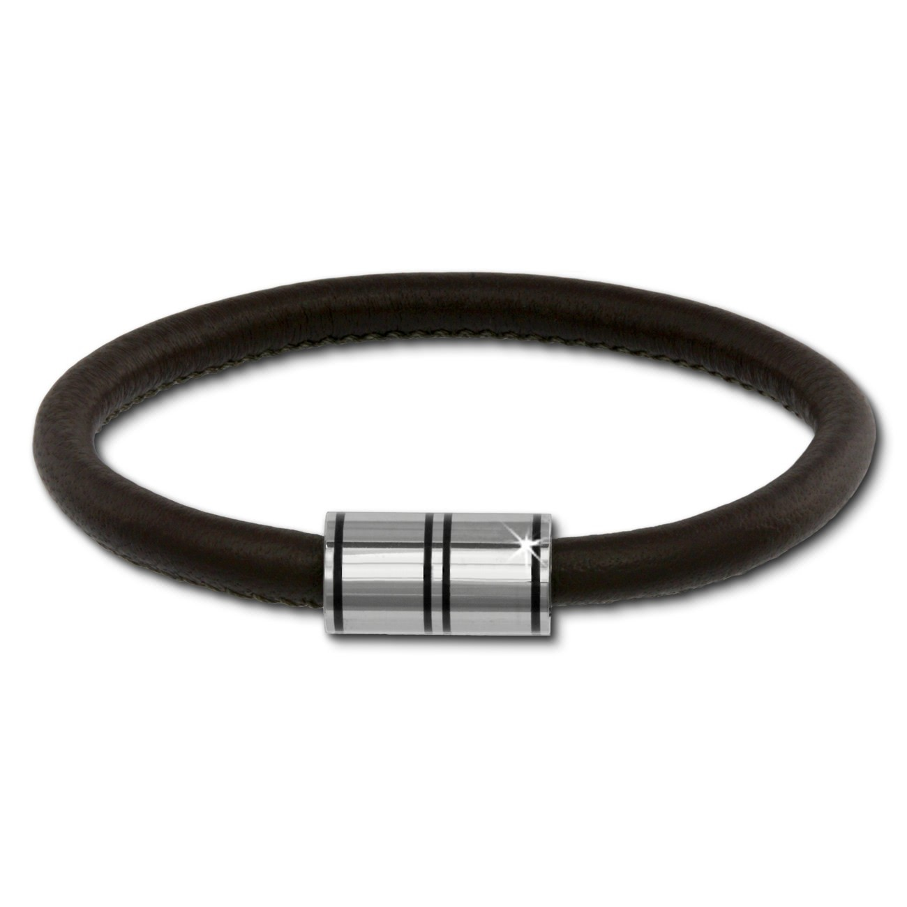SilberDream Nappa Leder Armband braun 18cm Edelstahlverschluss LAB1118