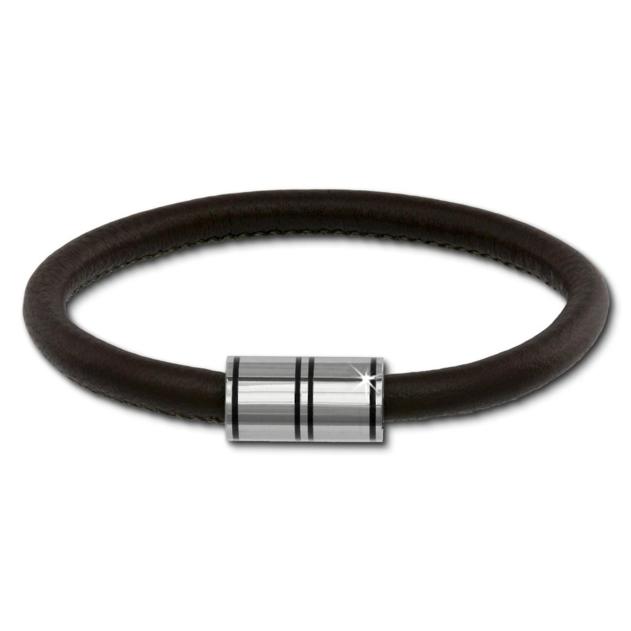 SilberDream Nappa Leder Armband braun 20cm Edelstahlverschluss LAB1120