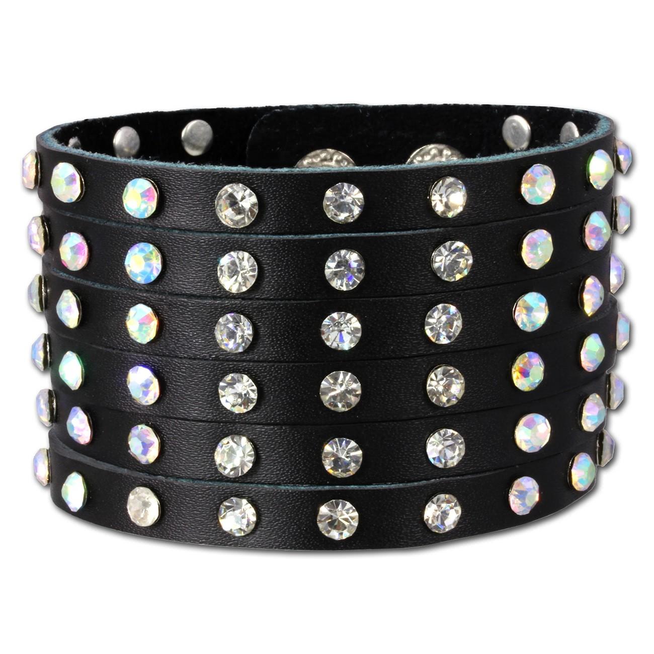 SilberDream Lederarmband schwarz Zirkonia Damen Leder Armband LAC221S