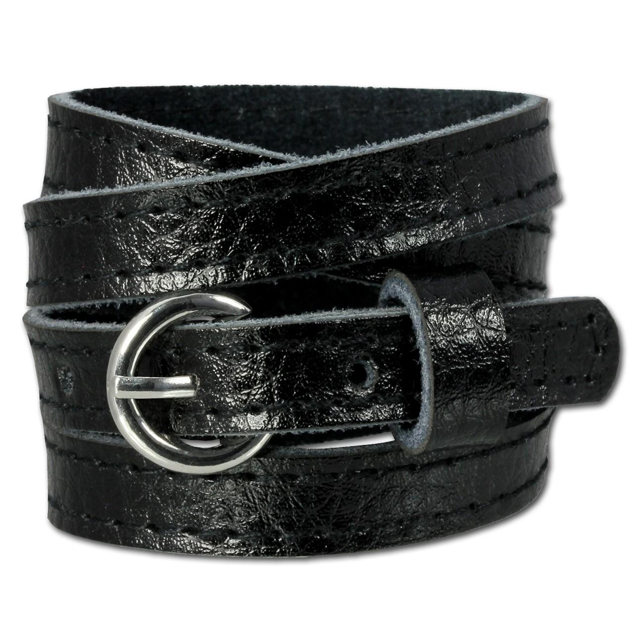SilberDream Lederarmband schwarz unisex Leder Armband LAC560S