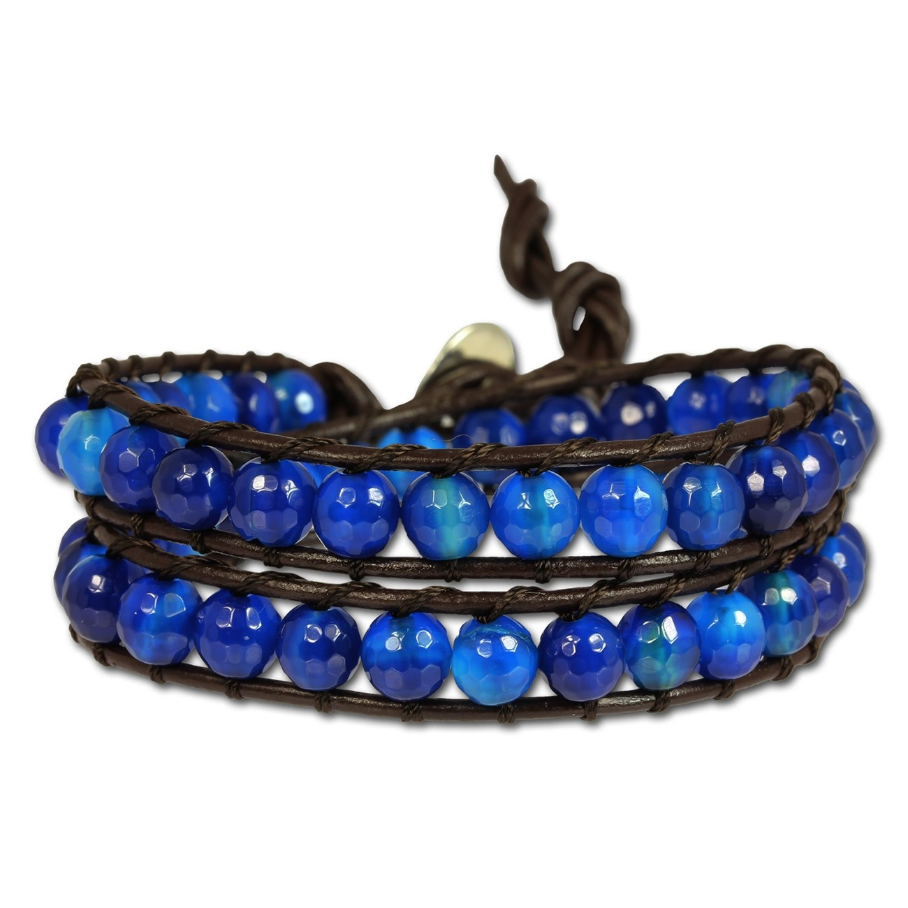 SilberDream Lederarmband Achat blau Damen Leder Armband LAN001