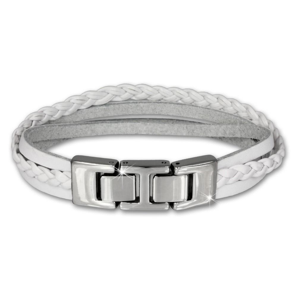 SilberDream Lederarmband Kordel weiß Edelstahl Leder Armband LAP003W
