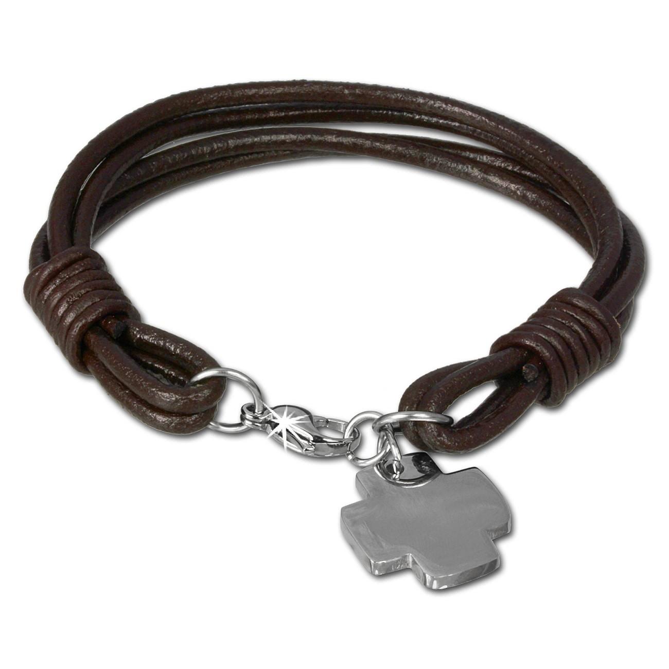 SilberDream Lederarmband Edelstahl Kreuz braun Leder Armband LAP004B