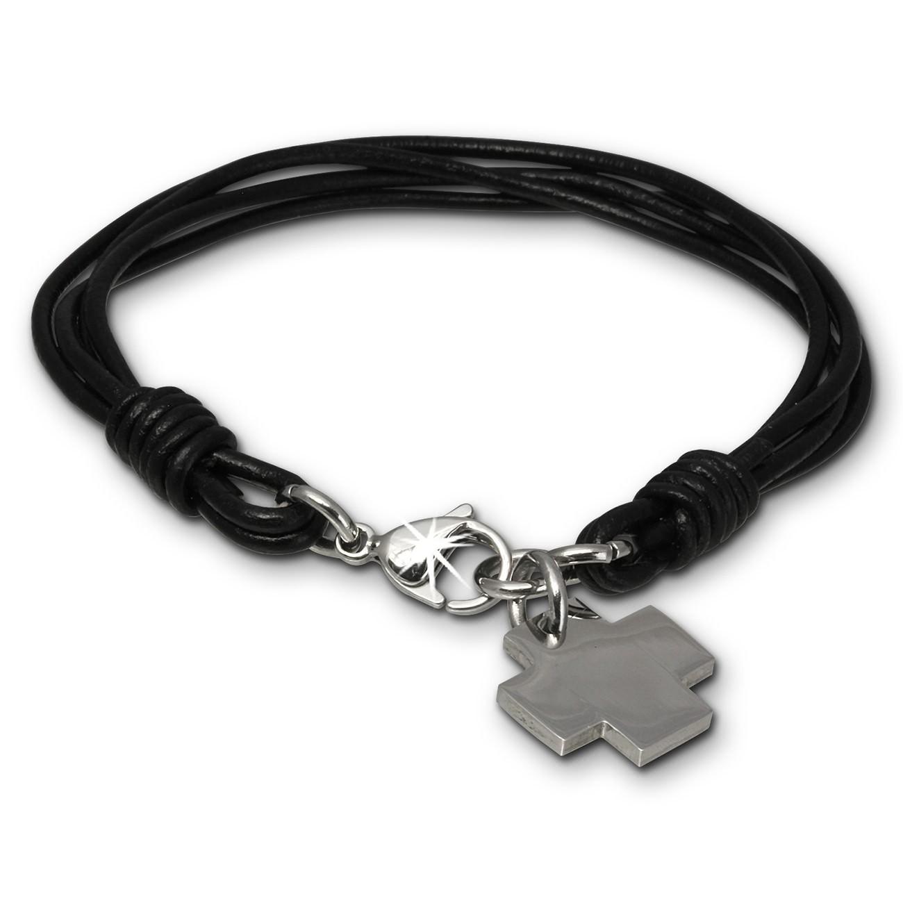 SilberDream Lederarmband Edelstahl Kreuz schwarz Leder Armband LAP004S
