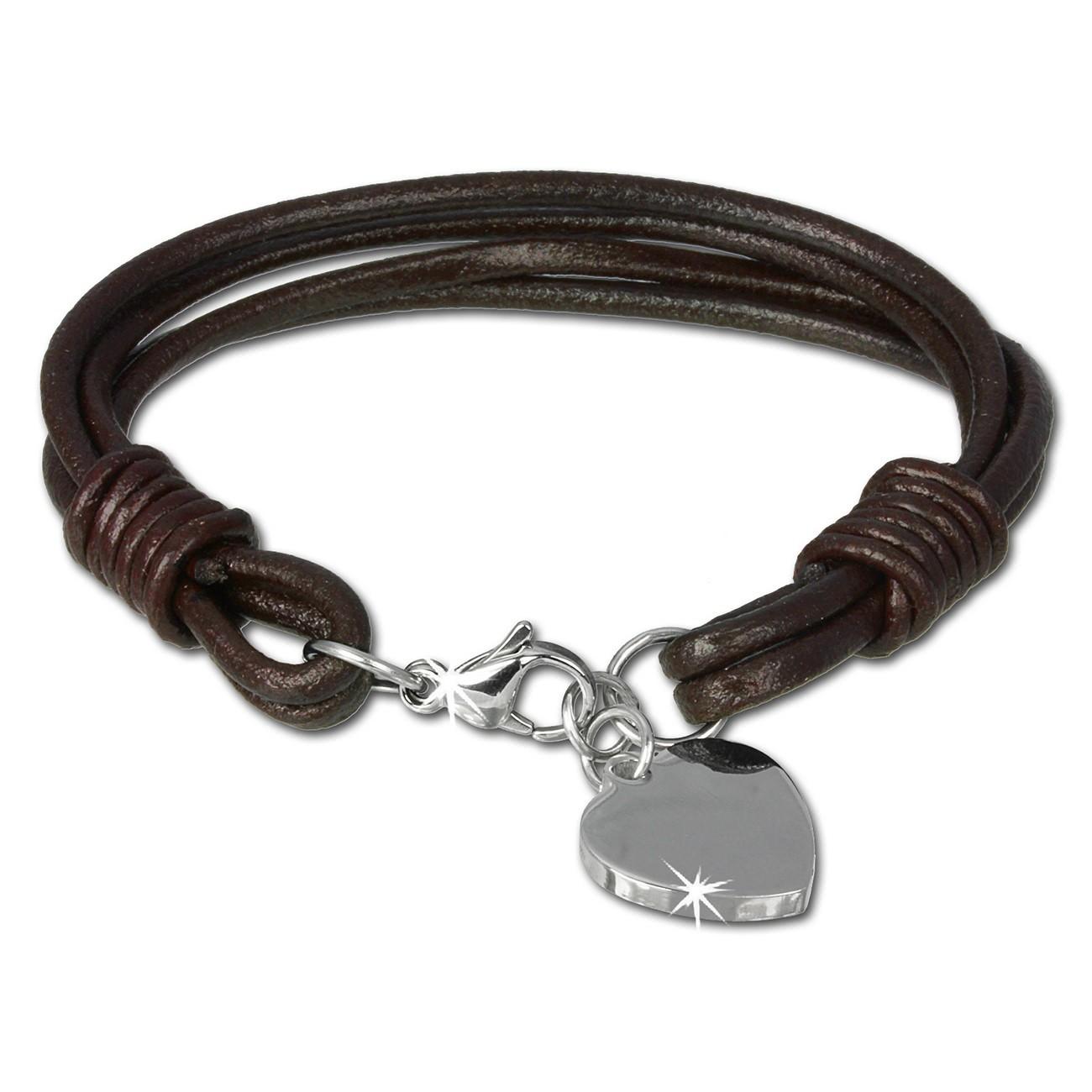 SilberDream Lederarmband Edelstahl Herz braun Leder Armband LAP005B