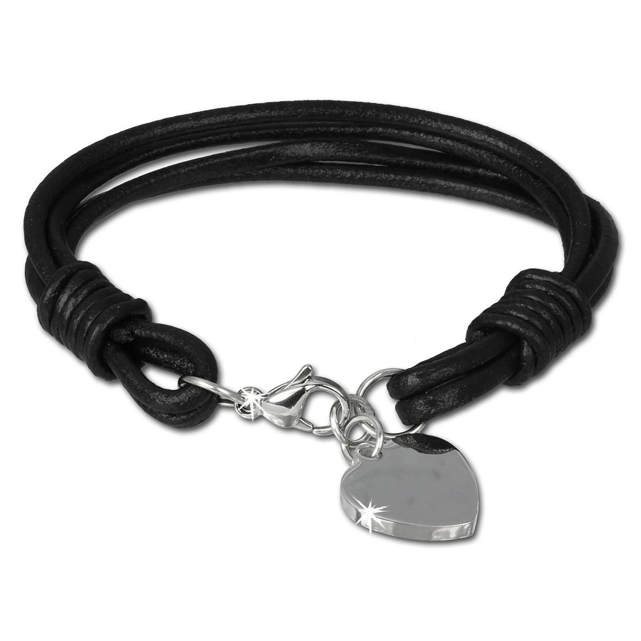 SilberDream Lederarmband Edelstahl Herz schwarz Leder Armband LAP005S