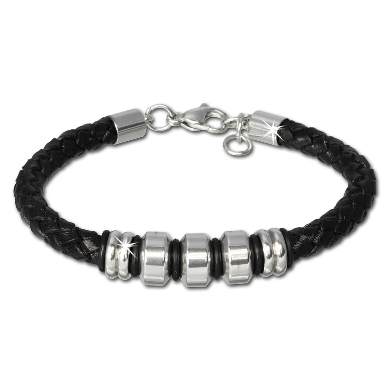 SilberDream Lederarmband Edelstahl Beads schwarz Leder Armband LAP006S